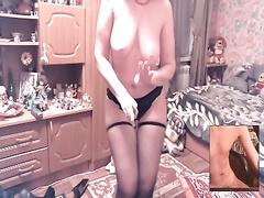 Взаимная мастурбация со зрелой по скайпу с диалогом